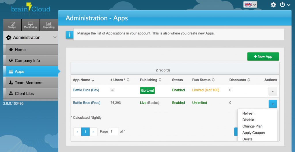 Admin Apps Page